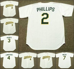 Wholesale Men TONY PHILLIPS HAROLD BAINES CARNEY LANSFORD WALT WEISS Oakland Athletics Cooperstown Away Baseball Jersey stitched