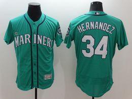 Felix Hernandez 34 Seattle Mariners Majestic FLEXBASE Collection Player Jerseys white black cream green Free Shipping MIX ORDER sunnee