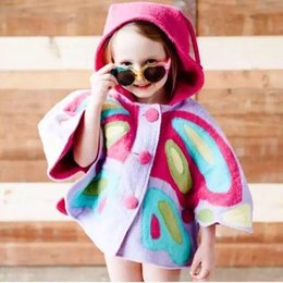 Wholesale 2016 autumn news children clothing girl butterfly bat wing sleeve hoodie outwear coat kids cape coat