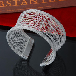 Factory direct wholesale 925 Sterling Silver Bangle Bracelet opening concave large net silver bracelet Jewelry Fashion