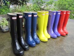 Wholesale women fashion Original name brand H tall Knee high rain boots low heels knee high waterproof welly boots rainboots water shoe