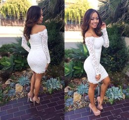 2016 Sexy Off Shoulder Short Mini Cocktail Dresses Lace Sheath Long Sleeves Knee Length Homecoming Dresses Party Evening Prom Dresses BA3332