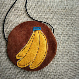 Wholesale Child Kids Girls Fruit Banana Faux Suede Bags PU Leather Handbag Messenger Shoulder Bag Cross Body Pocket Satchel Circular Handbags B6838
