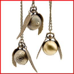 Harry Potter Golden Snitch Pocket Watch ball pendants necklace Bronze Quidditch Wings quartz Watch Fob Watches men women jewelry 230150