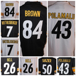 Wholesale Steelers Cheap Roethlisberger Polamalu Shazier Brown Bell Stitched Game Jersey Football American Men White Black Wear Jerseys