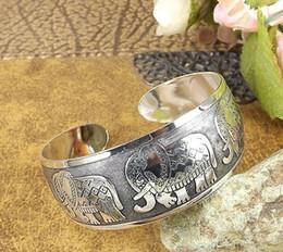 2016 womens ladies females punk elephant lotus wide ethnic opening Tibetan silver bangles bracelets wristband 10styles free shipping