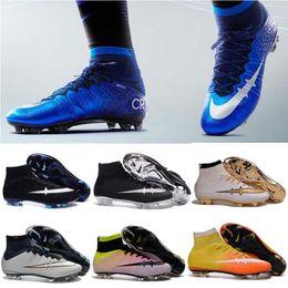 Wholesale Men Mercurial Superflys FG CR7 Soccer Cleats Children Soccer Shoes Laser High Top Kids Boys Football Boots women Girls Football Shoes