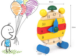 Color removable wooden clock. Fun can be assembled wooden puzzle educational toys for children, cute style clock