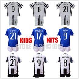 Wholesale 2016 Kids Juventus Youth Jersey Juventus Soccer Jersey Home Away Higuain Chiellini Dybala Pjaca Children Soccer Sets Kit