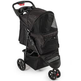 Wholesale Deluxe Pet Stroller Cat Dog Wheel Walk Jogger Travel Folding Carrier Black
