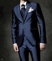Wholesale New Arrival Groom Tuxedos Groomsmen Styles Best Man Suit Bridegroom Wedding Prom Dinner Suits Jacket Pants Tie Vest H978