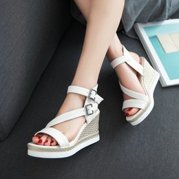 2016 Plus small size 34-43 high wedge heel platform solid open toes belt buckle strap lady casual shoes women roman sandals 28-7