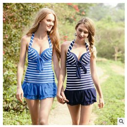 Wholesale Conservative Skirts - 2016 new style swimsuit bikini women swimdress Conservative skirt type conjoined swimsuit cover belly padded wired push up sexy swimwear
