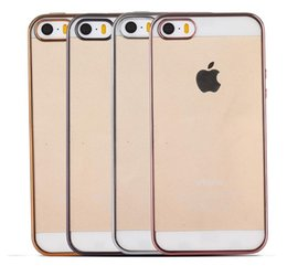 For Apple iphone 5S SE 5 Case Ultra-Thin Gold Plating Clear Soft Silicone Transparent TPU Phone Cover For iphone5S