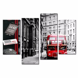 Wholesale LK4207 Panel Red Car On The City Streetb Oil Painting Wall Art Mordern Pictures Print On Canvas Paintings Sale For Home Bar Hub Kitchen