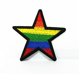 Wholesales~10 Pieces Rainbow Star Sport (6.5 cm x 6.5 cm) Kids Patch Full Embroidered Applique Iron on Patch (B)