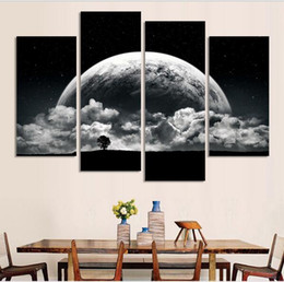 Black and white Printed close planets Universe 4 piece painting wall art children's room decor poster canvas Free shipping