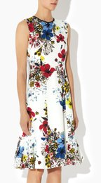 Floral Flower Print Women Mermaid Dress Round Neck Dresses 064A637