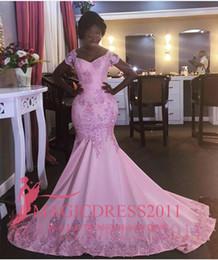 Black Girl Evening Dresses Mermaid Off-Shoulder Short Sleeve Beaded Crystal Ruffled Pleated Formal Party Prom Dresses