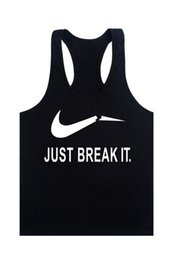 Wholesale-2016 New Just break It Tank Top Men Bodybuilding Equipment Clothing and Fitness Shirt Sports Vest Cotton Singlets Muscle Tops