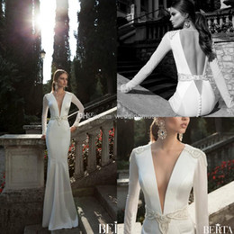Berta Mermaid Plunging V-neck Sheer Long Sleeve Beading Backless Sweep Train Satin Sexy Bridal Gowns 2016 Vintage Wedding Dresses DL1311192