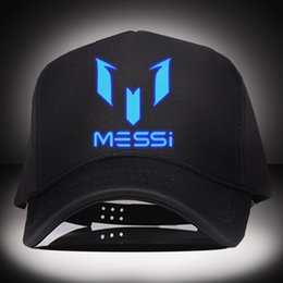 Wholesale Night luminous Barcelona Messi snapback fashion baseball caps winter summer hats football hats for men