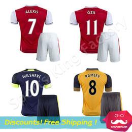 Wholesale kids OZIL Jerseys Camisa de futebol WILSHERE WALCOTT RAMSEY Jerseys children ALEXIS football set Best quality