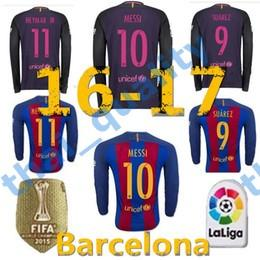 Wholesale 2016 Thailand Quality Barcelona Jersey Home Away Long Sleeve SUAREZ MESSI NEYMAR JR Football Soccer Jerseys
