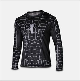 Wholesale Marvel Super Heroes Avenger Batman sport T shirt Men Compression Armour Base Layer Long Sleeve Thermal Under Top Fitness XS XL