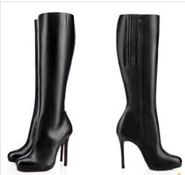 Longue en cuir femmes boot en Ligne-Pompes 85mm / 100mm / 120mm Heels minces Bottes Fifi Botta plate-forme de bottes de fond rouge cuir noir dames d'hiver femme genou botte de longues bottes