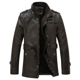 Desconto revestimento da motocicleta longas de couro Outono-Inverno Aviator Leather Jackets Men Faux Fur Coats Longo Casual jaqueta de couro Sashes Motorcycle Thicken Outwear Overcoat