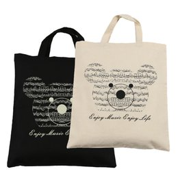 Pure Cotton Bag 2 Pcs Cute Music Bear Soft Protable Tote Bag Shopping bag -Black + Beige
