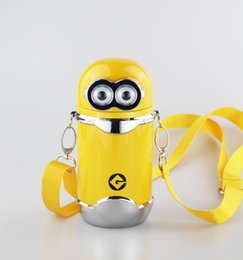 Wholesale Minions Double Walled Vacuum Thermos Cup Insulated Stainless Steel Water Bottle with Adjustable Strap