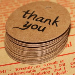 Wholesale Thank you Kraft Paper Price Hang Tags Wedding Party DIY Cards Xmas Gift Wrap Packaging Brown Label Bookmark Decoration