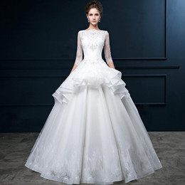 Organza Ball Gown Wedding Gowns Bateau Neck Applique Peplum 2016 China Wedding Dresses China Lace Up Back Berta Bridal Half Sleeves