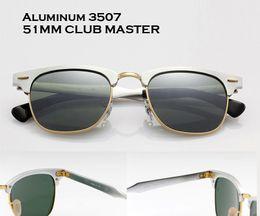 Wholesale vintage Men Aluminum mirrored Sunglasses woman Defending Coating Lens Classic Brand Driving Shades club master gafas