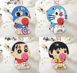New Cute Funny Funny 3D Soft Silicone Cartoon Pacifier Baby Captain America Doraemon Case Cover For iPhone 5 5s 6