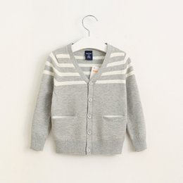 Wholesale New Kids Knitted Stripes Cardigans Blue and Gray Color V Neck Fall Winter Jackets Outwears Fashion Children Clothing
