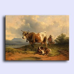Wholesale Hand painted Hi Q modern wall art home decorative abstract oil painting on canvas cows cattles by the river x36inch Unframed