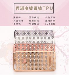 Chic Agate Pattern Glitter Case For iphone 6 6S   iphone 6 6S Plus Plating Frame Soft TPU Gel Bling Diamond Cover For iphon 6 S
