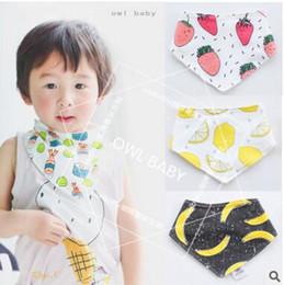 Wholesale Ins Baby Bandana Bibs Baby Infant Fruit Burp Cloth Cotton Terry Bandana Bibs Saliva Towel Triangle Head Scarf Long Absorbent Adjustable Bib