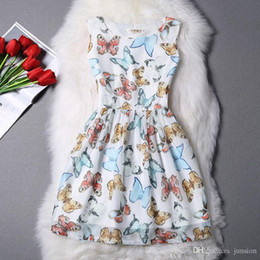 The New Spring And Summer 2016 New Korean Version Of Organza Princess Tutu Butterfly Print Small Fresh A Dress S - XL