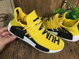 Wholesale All Real Pictures Yellow Color New Style NMD HUMAN RACE Shoes Sports Mesh Running Sneakers Pharrell Williams Athletic Outdoor Shoes