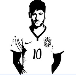Wholesale Home Decor Posters Sports Footballer Wall Stickers PVC Removable Art Mural Football Star Neymar Boys Room Wall Stickers