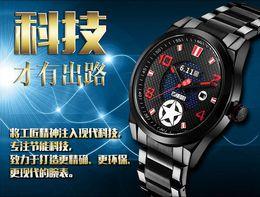 Wholesale Waterproof energy saving environmentally friendly light energy watch men s watch steel belt solar powed watch B