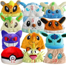 Wholesale Poke Plush Hats Pikachu Eevee Gengar Cosplay Beanie Caps Styles Cute Cartoon Poke Go Plush Caps Hats For Xmas Gift