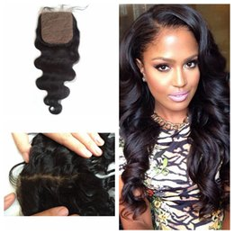Brazilian Silk Base Closure,Free 3 Part Body Wave Silk Base Closure Brazilian Virgin Hair,4x4 Silk Top Closure G-EASY