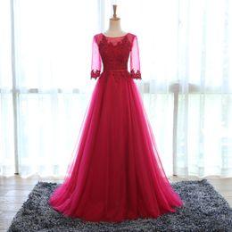 Elegant Burgundy Long Evening Dresses Lace Appliqued Tulle Half Sleeve Evening Gowns Cheap Graduation Gowns Abendkleider 2019
