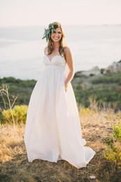 Hot Sales New Empire Maternity Wedding Dresses 2019 Court Train Simple Style Pleats Spaghetti Strap Chiffon Bridal Gowns Custom Made W2016