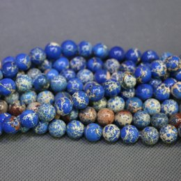 Jasper Natural Stone RoyalBlue Gemstone Emperor Imperial Jasper Beads Round Smooth Beads Wholesale Price Women Necklace Making Jewelry